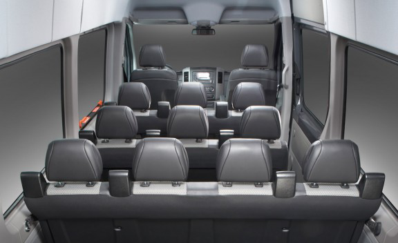 14 passenger mercedes sprinter airport shuttle toronto skyway coach for Mercedes sprinter van interior
